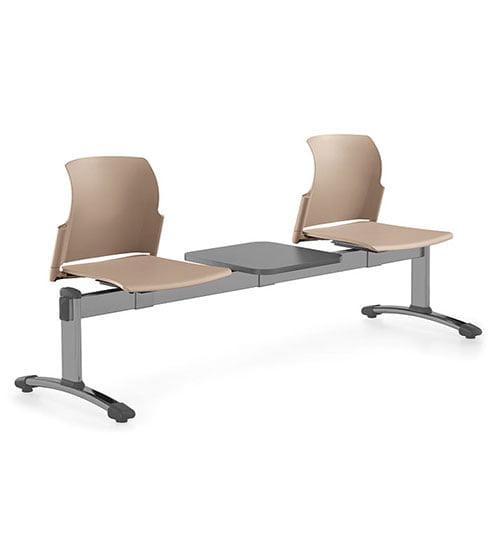 banca metal y polipropileno blanco 2 personas y mesa