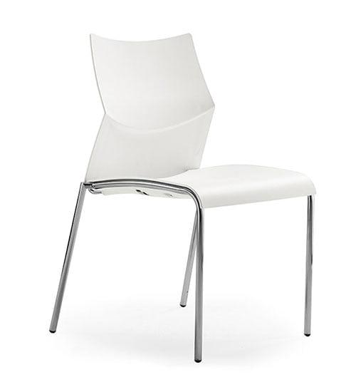 silla estructura metal asiento y respaldo polipropileno blanco cromo nizza