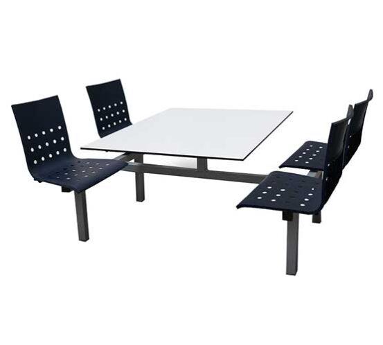 Banca 4 personas gris mesa blanca y asientos tecnopolimero azul