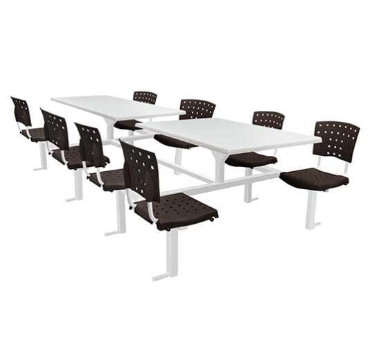 Banca fastfood 8 personas negro mesa blanca asientos chocolate