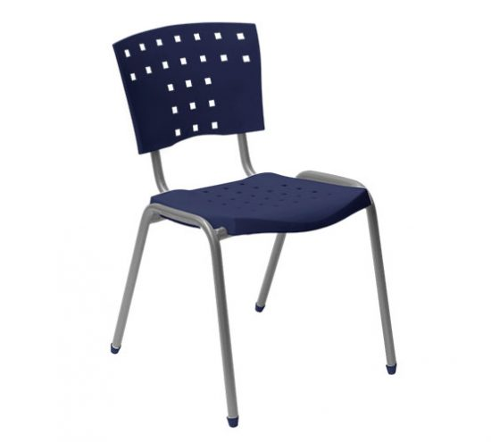 Sila metal y asiento respaldo polipropileno azul jaina