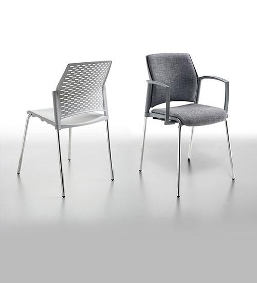 silla con tela blanco metal y polipropileno rewind comedor industrial