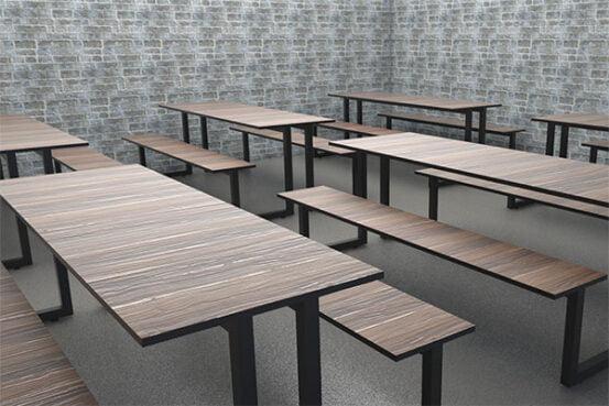 banca fasfood madera con metal color madera