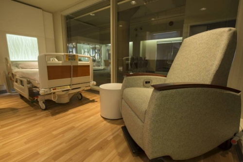 Mueble fabricado en corian Glacier White para hospitales y clinicas