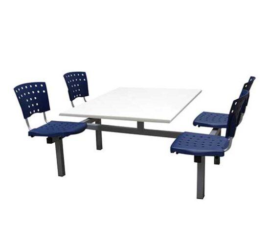 banca 4 personas metal gris y asientos polipropileno azul