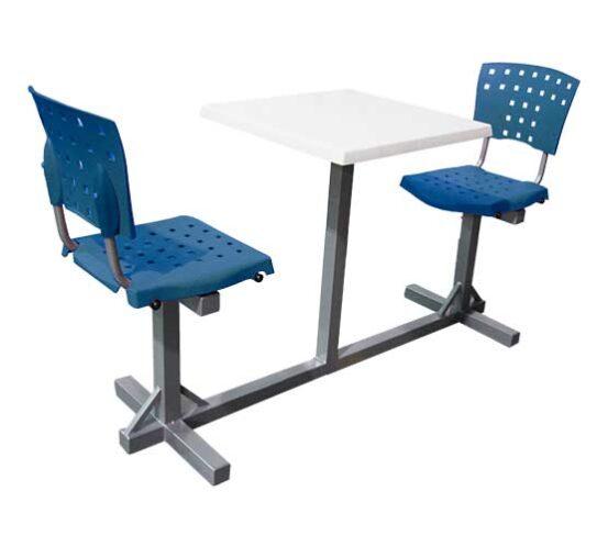 banca 2 personas metal gris y asientos polipropileno azul