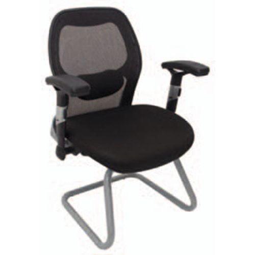 silla oficina visitante juntas negro metal respaldo mesh
