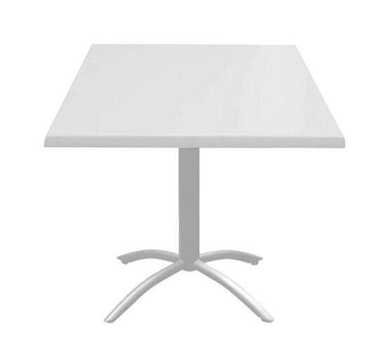 Mesa blanca con bases cruz para restaurantes y comedores industriales