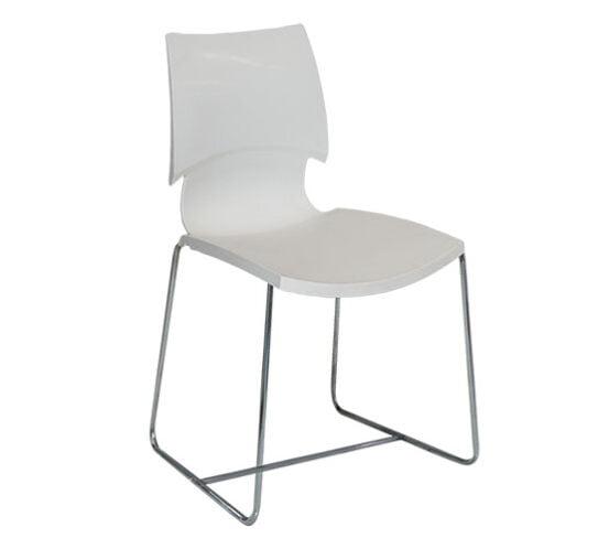 Silla metal lineas con asiento y respaldo polipropileno blanco comedor industrial