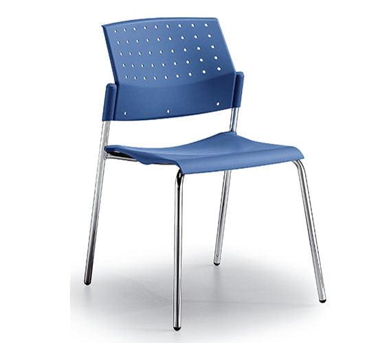 Silla base metal asiento y respaldo polipropileno modelo areta azul cromo comedor industrial