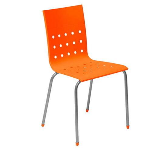 Silla metal con asiento tecnopolimero naranja comedor industrial
