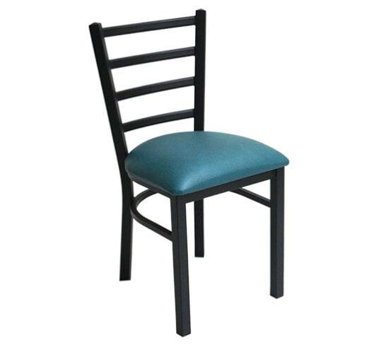 Silla metal asiento vinil comedor industrial Azul