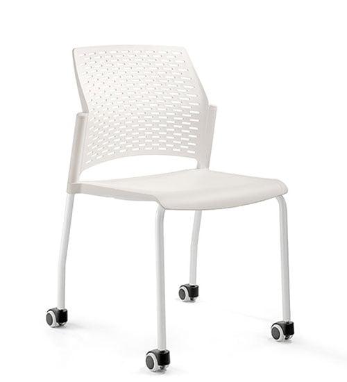 silla con ruedas blanco metal y polipropileno rewind comedor industrial