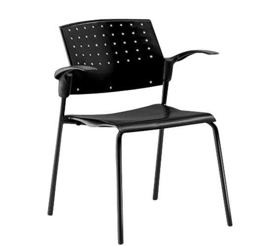 Silla base metal asiento y respaldo polipropileno modelo areta negro comedor industrial