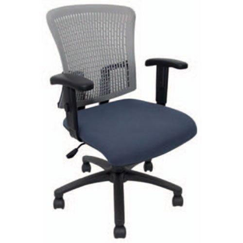 silla oficina azul respaldo mesh gris coderas