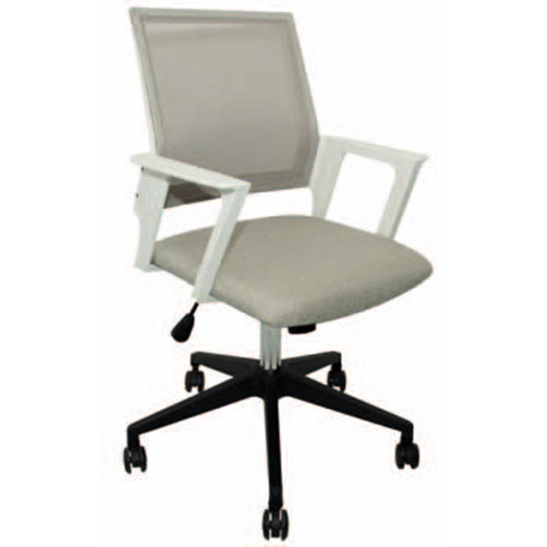 silla oficina gris y blanco asiento tela y respaldo mesh