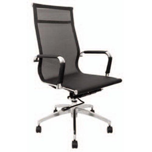 silla oficina ejecutiva negra malla mesh completa