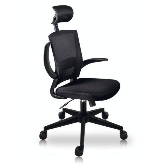 silla oficina con cabecera negro economica texas