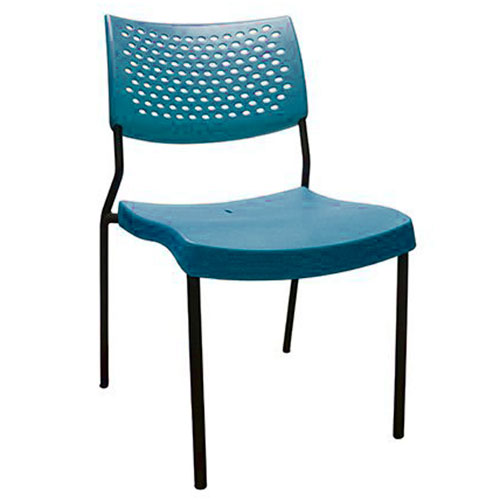 silla comercial estructura metal asiento polipropileno azul