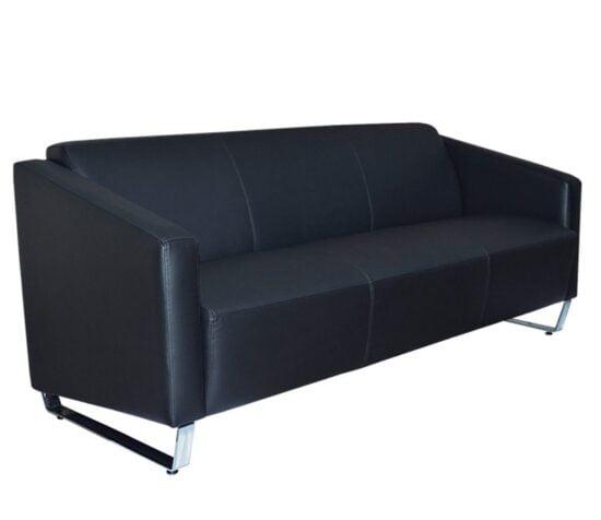Sala sofa lunge negro patas trineo cromo vinil para lobby