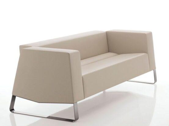 sofa para lobby beige patas cromo industriales