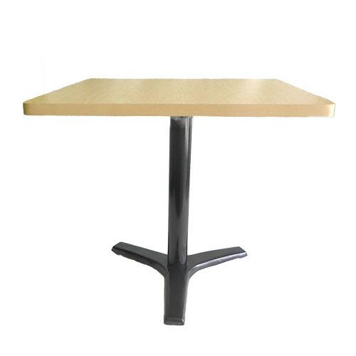 Mesa cuadrada pedestal cruz 3 patas color negro cubierta madera clara