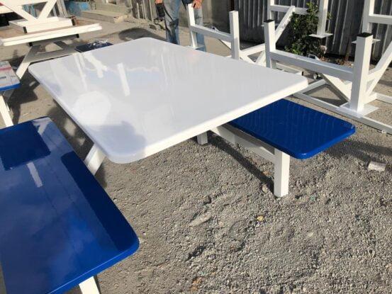 Bancas para 4 personas fibra de vidrio fastfood blanco y azul