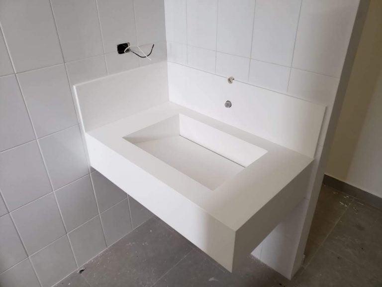 lavamanos en superficie solida corian blanco para maquiladoras y naves industriales