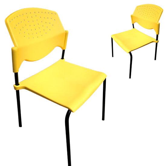 silla comedor industrial amarillo y negro resistente