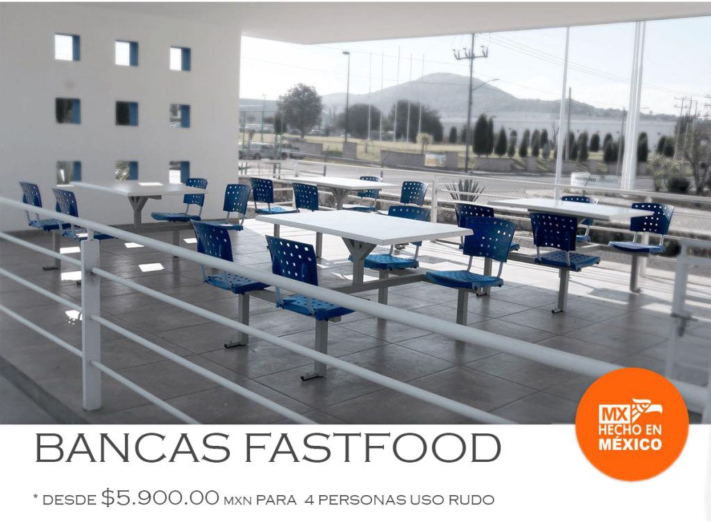 Banca fastfood 4 personas foodcourt comedores industriales