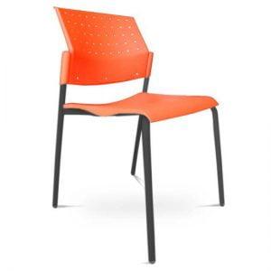 Sillas para comedores industriales Areta naranja y negro cafeterias