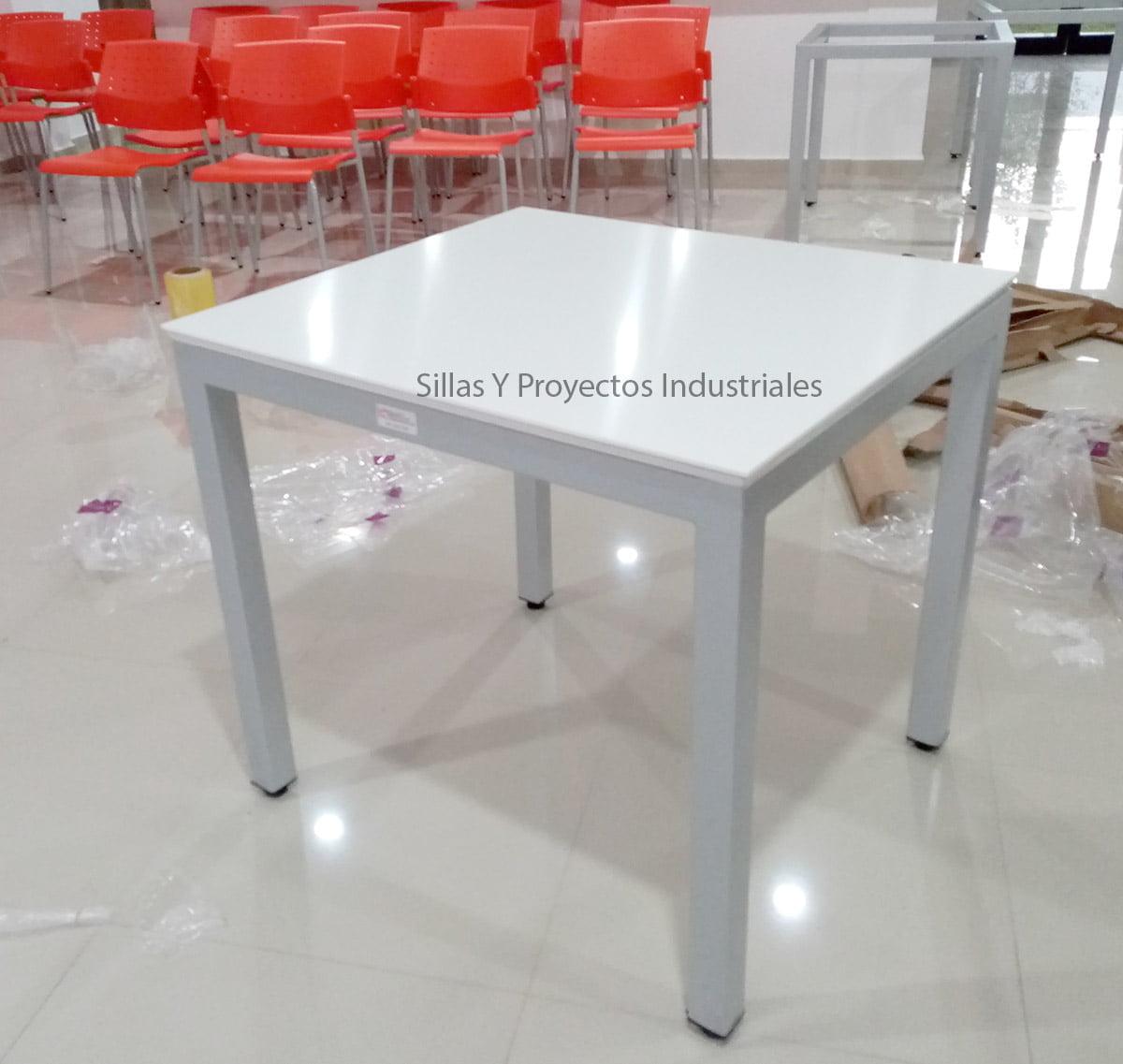Mesa blanco acrilico higienico hospitales y cafeterias