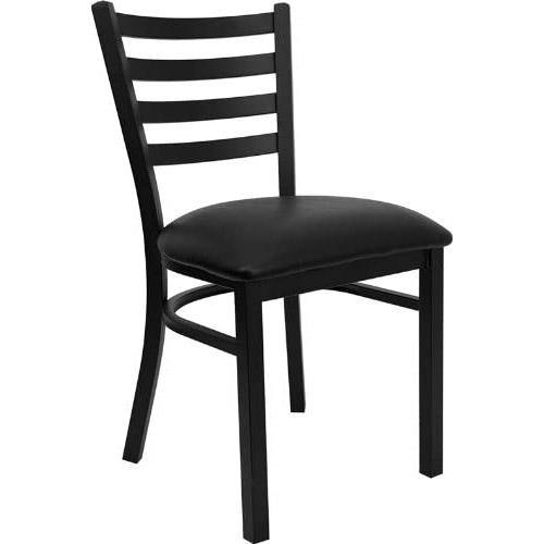 Silla de metal asiento vinil negro para comedores y cafeterias