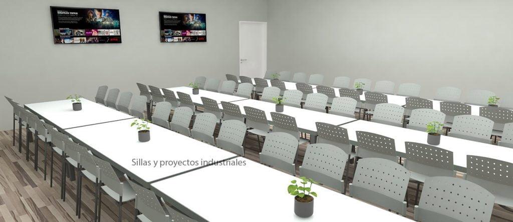 Sillas y mesas para cafeterias industriales grises y blanco