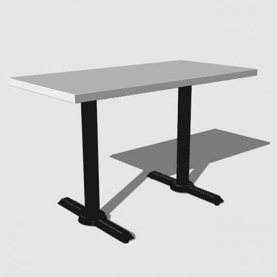 Mesa rectangular para 4 personas blanco y negro