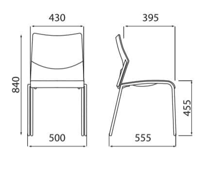 Medidas sillas Nizza para comedores y cafeterias