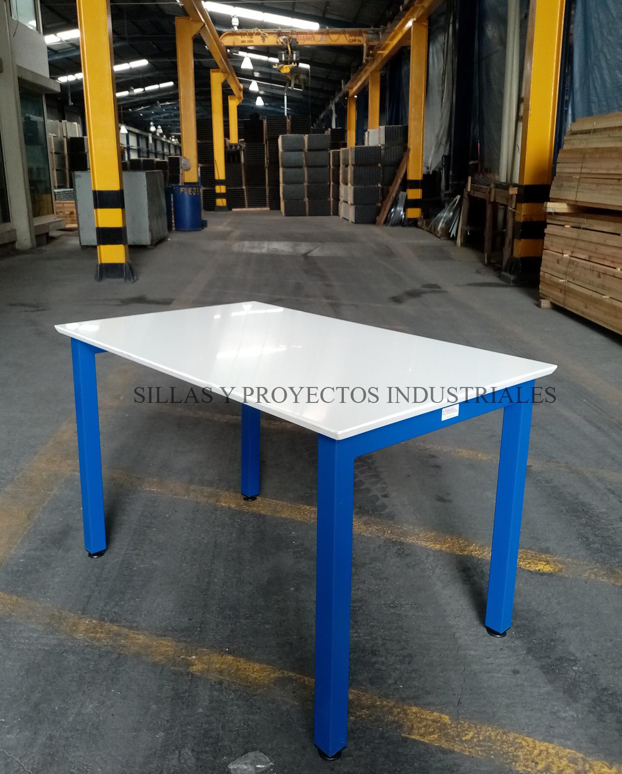mesa fragen comedores industriales uso rudo blanco y azul