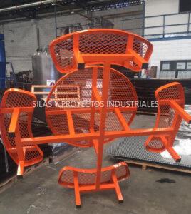 Banca grande industrial color naranja industrial